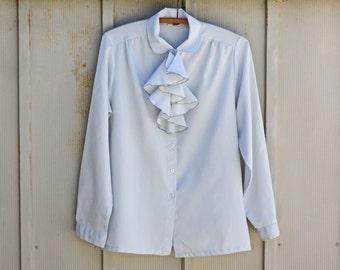 Baby Blue Blouse - Vintage Ruffle Blouse - Retro Secretary Blouse - 70s Powder Blue Top - 60s Mod Shirt - 1960s Light Blue Top - Hipster Top