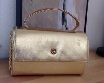 Ande Gold Lame Box Clutch Rhinestone Ornate Flap Purse Cocktail Handbag
