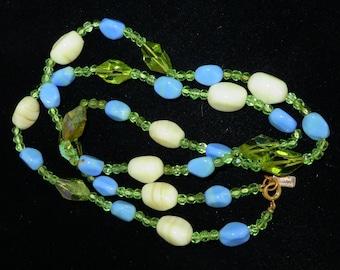 Hattie Carnegie Glass Bead Necklace, Vintage Blue, Green, Cream Art Glass Necklace, 29 inches