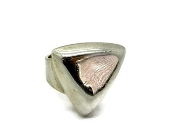 ON SALE! Vintage Sterling Silver Triangle Ring, Wide Band Triangle Ring, Size 7