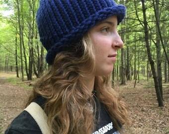 Knitted hat, blue, winter hat, roll brim knit hat