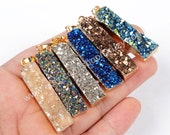 Wholesale Gold Plated Rectangle Rainbow Agate Titanium Druzy Pendant Bead Horizontal Drusy Gemstone Charm Natural Druzy Bar Jewelry G0651