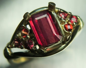 1.30cts Natural African Red Ruby, emerald cut & red sapphires 9ct 375 Yellow gold engagement ring all sizes