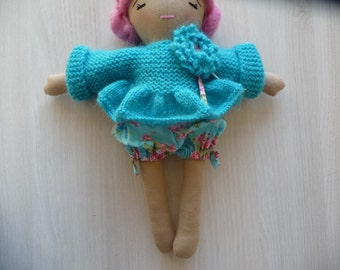 Bloomer and fabric doll sweater set