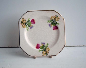 Vintage Thomas Hughes & Sons (Ltd) Longport Made in England Pattern 5737 Small Square Shape Saucer. Period 1935-57