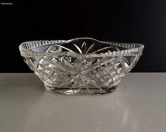 Vintage Cut Glass Bonbon Dish/Candy Basket