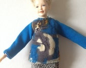 112 scale womens teal funky sweater with tweed like mini skirt for Heidi dolls by Jings Creations
