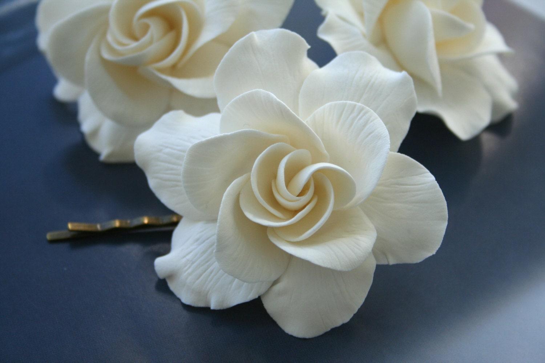 Gardenia Flower hair pin Bridal flower Hair Pin Wedding