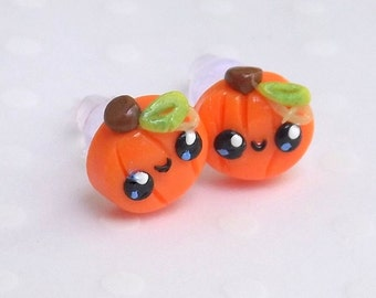 Pumpkin Earrings, Stud Earrings, Cute Earrings, Fall Autumn Earrings,  Hypoallergenic Posts, Halloween Earrings, Kawaii Halloween