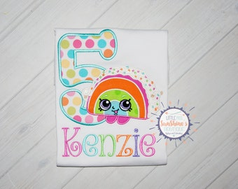 Shopping Birthday Shirt-Girls Embroidered Birthday Shirt- Rainbow Birthday Shirt- Shopkins Birthday Shirt-Shopkins Shirt