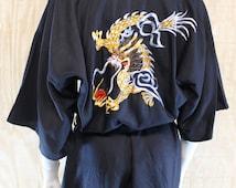 Vintage 1980's Asian Black Embroidered Dragon Fire Pearl Belted Short Kimono Haori Robe