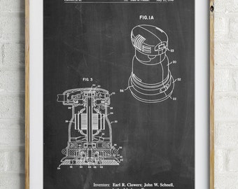 Palm Grip Sander Patent Poster, Woodworking Tools, Gifts for Dad, Tool Art, Garage Decor, Man Cave, PP0998