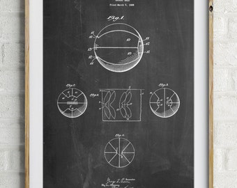 Basketball 1929 Game Ball Patent Poster, Basketball Player, Basketball Dad, Boys Room Decor, PP0222