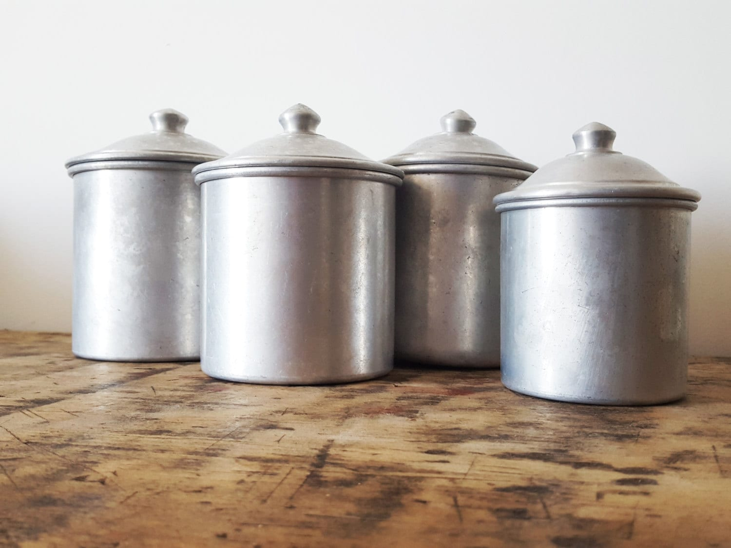 French kitchen aluminium canisters set french decor french for Kitchen set aluminium