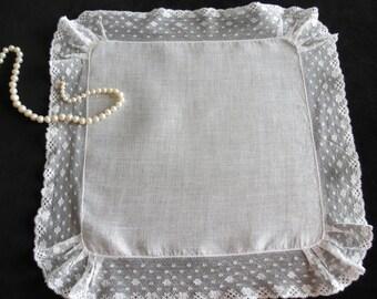 Romantic antique/ vintage white lace wedding handkerchief. Unique and memorable bridal wedding gift.