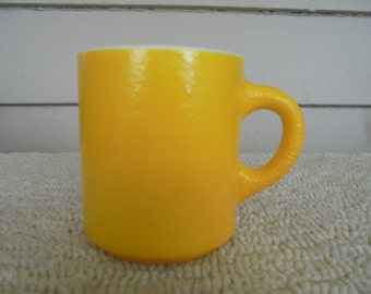Vintage Bright Yellow Coffee Mug, Unique Coffee Cup, Sunny Yellow Retro Mug 1970s