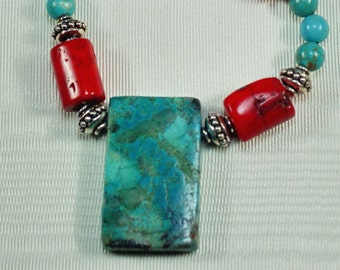 Turquoise Coral Necklace, Turquoise Sterling Necklace, Southwestern Necklace, Gifts for Her, Sterling Beaded Necklace, Magnetic Clasp