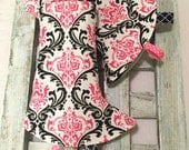 BELLA Tula Suck Pads - suckpads, drool pads, baby carrier accessories, damask, pink, black, girly, black and white, stripes, ergo, lenny