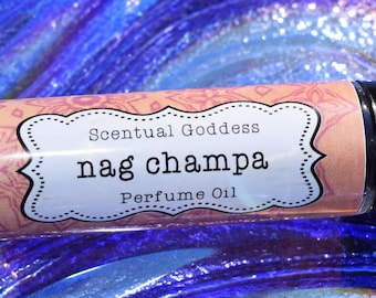 NAG CHAMPA Perfume Oil - Spicy Earthy Indian Incense Scented Zen Hippie Boho Unisex Cologne Body Oil made with Coconut Oil