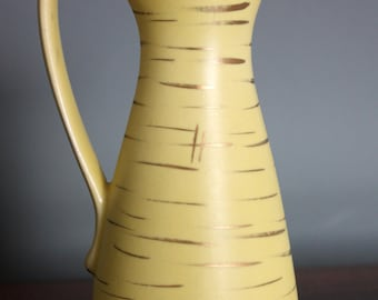 Small Vintage 1950s Yellow Pottery West German Jug