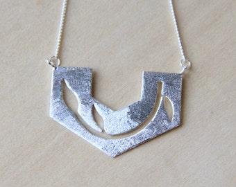 Sterling Silver leaf branch necklace
