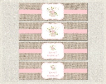 Printable Water Bottle Labels Wraps Birthday Shabby Chic Burlap 1st 2nd 3rd Pink Girl IV-7