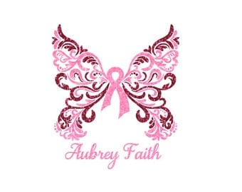 Custom Glitter Cancer Awareness Butterfly Car Decal