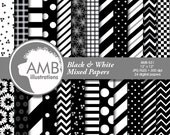80%OFF Black and White digital papers, Mixed Digital patterns, Checkers, polkadot, Stripes, Chevron, Backgrounds, Commercial use, AMB-531