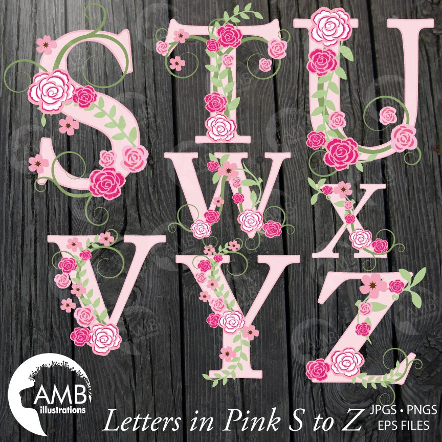 Floral Alphabet clipart Shabby Chic Pink Roses Letters