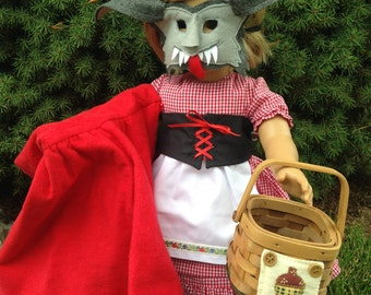"""6 Piece Little Red Riding Hood and the Big Bad Wolf, 18"""" American Doll Set"""