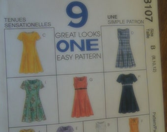 McCalls 8107, dress, misses, womens, UNCUT sewing pattern, craft supplies, sizes 8-12, teens, petite