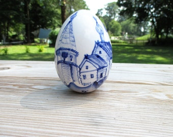 Hand Painted Blue and White Ceramic Egg