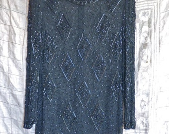 Black Silk Beaded Tunic Blouse