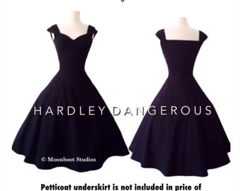 Made to Measure!  Little Black Dress, The Cherrybomb Swing Dress by Hardley Dangerous Couture, 1950s Rockabilly Mod Bridesmaid Wedding