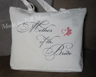 Mother of the Bride canvas wedding day travel bag ,  brides  gift , canvas bag tote , with zipper top 18 x 14 x 4 with heart and roses