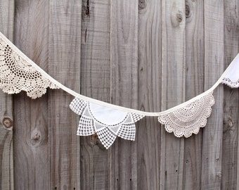 Crochet doily bunting - 2.5 metres
