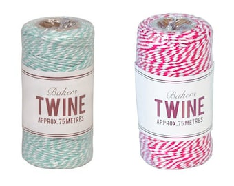 80 mt Mint/Red and White Cotton Bakers Twine Spool,4 ply,Packaging,Gift Wrapping,Gift Wrap,Scrapbooking,Wedding,Birthday,Baby Shower