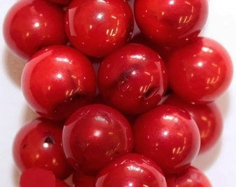 """Red Coral Beads - Round 9 mm Gemstone Beads - Full Strand 16"""", 45 beads, A Quality"""
