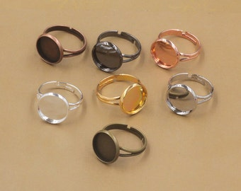 Circle cabochons base ring blanks 10mm,12mm,14mm,16mm,18mm,20mm, adjustable retro rings blanks D5921