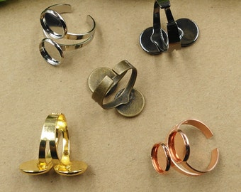 Unique double-base ring blanks 10mm supplies,supports de bagues,antique bronze silver colors,adjustable retro rings blanks T7279(10mm)