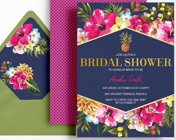 Tropical Bridal Shower: Tropical Bridal Shower Invitation Navy Pink Gold Printable