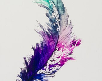 Feather painting print