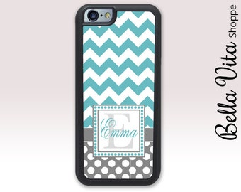Chevron Dots Monogrammed iPhone 6 Plus Case, Personalized iPhone 6S Plus Case Monogram 1225 I6P