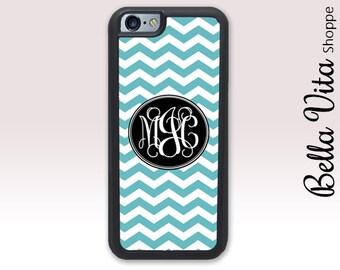 Blue Chevrons iPhone 5 Case, Personalized iPhone 5S Case, Monogram iPhone 5 Case 1207
