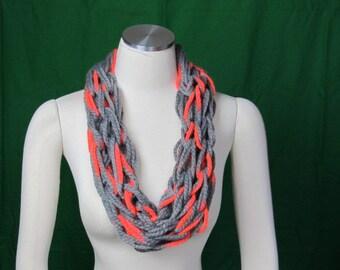 Grey and Orange scarf