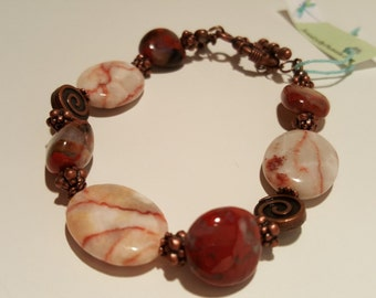 Modern Bracelet Red Line Marble polished Women Red Carnelian and Red Line Marble Bracelet New Style