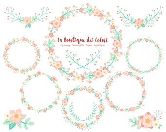Pink and Mint Flower Wreath Clipart, Cute Graphics PNG, Laurel Wedding, Invitation, floral vector wreaths Clip art, Scrapbook Commercial Use