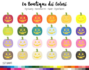 50 Rainbow Spooky Pumpkin Clip art, Cute Digital Graphics PNG, jack o lantern, Halloween Clipart, Planner Stickers Commercial Use