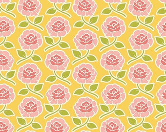 Farm Girl Rose Trellis Yellow by October Afternoon for Riley Blake, 1/2 yard, C5022-Yellow