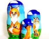 SALE Russian Nesting Dolls Foxes set